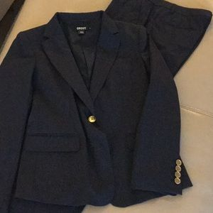 DKNY navy pant suit with gold button detail